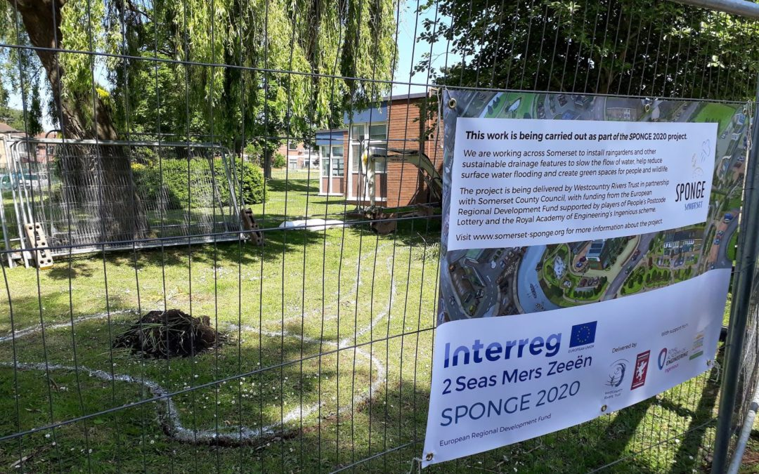 Raingarden construction gets started at Lyngford Park…